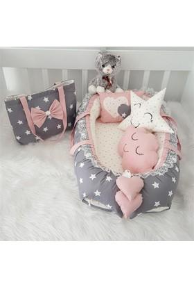 Modastra Babynest Pudra Beyaz Minik Ve Büyük Yıldız Desenli Uyku Seti Baby Nest