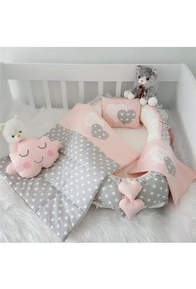 Modastra Babynest Pudra - gri Kalp Ve Yıldız Desenli Uyku Seti Baby Nest