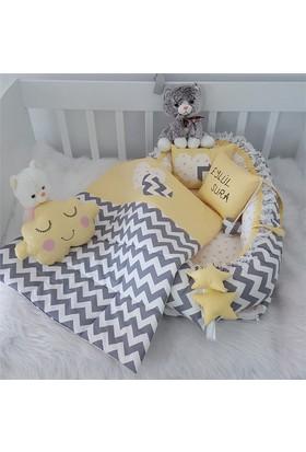Modastra Babynest Gri Beyaz Zigzagli Özel İsimli Uyku Seti Baby Nest