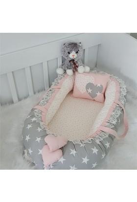 Modastra Babynest Büyük Yıldızlar Pudra Kombin Uyku Seti Baby Nest