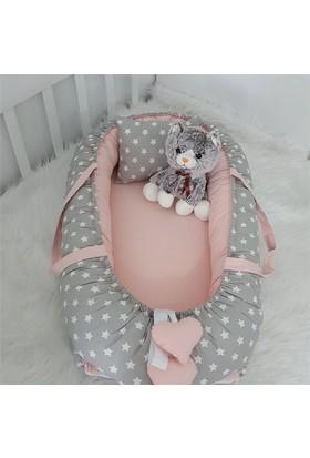 Modastra Babynest Gri Yıldız Pudra Çift Taraflı Uyku Seti Baby Nest
