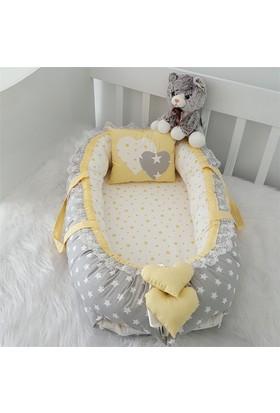 Modastra Babynest Gri ve Sarı Yıldız Kombin Lüx Baby Nest
