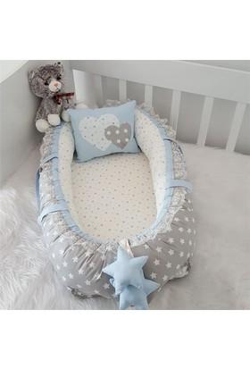 Modastra Babynest Gri ve Mavi Yıldız Kombin Lüx Baby Nest