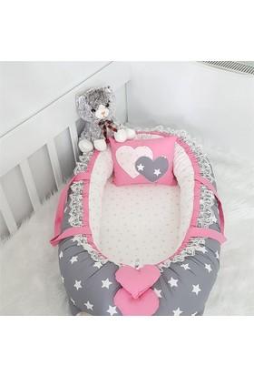 Modastra Babynest Koyu Gri ve Pembe Yıldız Kombin Lüx Baby Nest