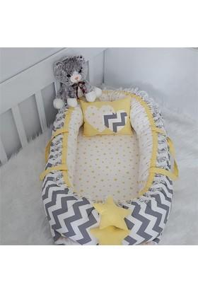 Modastra Babynest Gri Zigzag ve Sarı Yıldız Kombin Lüx Baby Nest