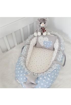 Modastra Babynest Mavi Yıldız Gri Kombin Uyku Seti Baby Nest