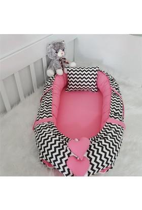 Modastra Babynest Siyah Zigzag ve Pembe Kombin Lüx Baby Nest