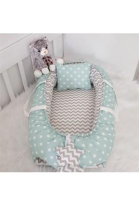 Modastra Babynest Mint ve Gri Zigzag Kombin Lüx Baby Nest