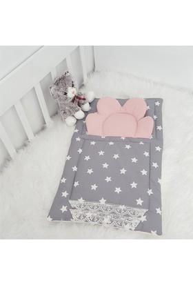 Modastra Babynest Gri Beyaz Yıldız Desenli Altaçma Uyku Seti Baby Nest