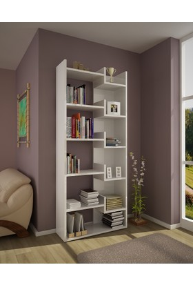 Rani K3 Kitaplık 6 Raflı Modern Tasarım Ev Ofis Kütüphane Beyaz