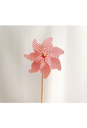 Polin Garden Rüzgar Gülü Çap: 35cm Kırmızı Puantiye Baskılı Pol 12