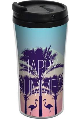 ALLMUG İç-Dış Plastik Termos - Happy Summer
