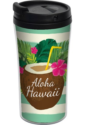 ALLMUG İç-Dış Plastik Termos- Aloha Hawaii