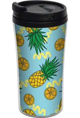 ALLMUG İç-Dış Plastik Termos- Pineapple