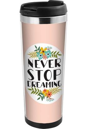 ALLMUG İçi Çelik Renkli Termos-Never Stop Dreaming