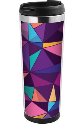 ALLMUG İçi Çelik Renkli Termos-Purple Geometric