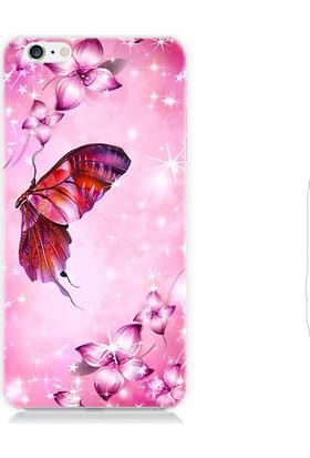 Teknomeg Apple iPhone 6S Pembe Çiçek Ve Kelebek Desenli Silikon Kılıf
