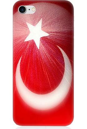 Teknomeg Apple iPhone 7 Türk Bayrağı Desenli Silikon Kılıf