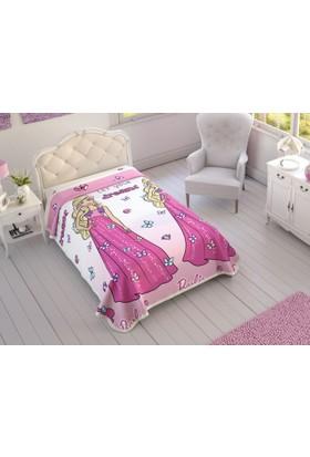 Taç Lisanslı Barbie Yatak Örtüsü Pike 160x220 cm