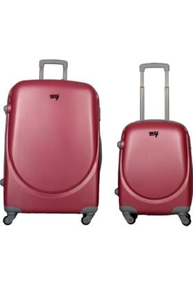My Luggage Yeni Sezon Sert Yüzey 2 li Valiz Seti Pembe (Büyük Küçük Boy)