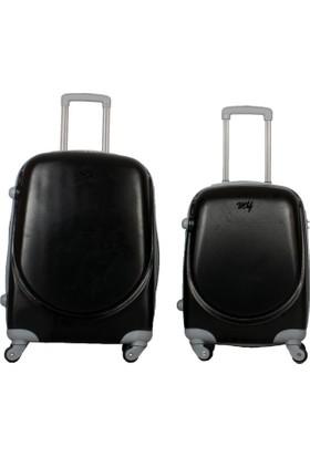 My Luggage Yeni Sezon Sert Yüzey 2 li Valiz Seti Siyah (Orta Küçük Boy)
