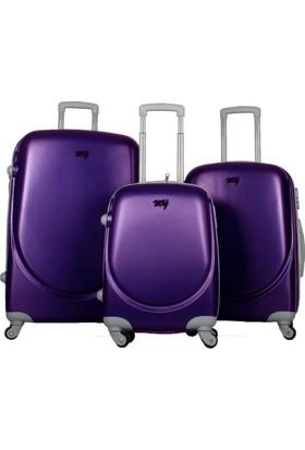My Luggage Dayanıklı Sert Yüzey 3 Lü Valiz Seti Mor 10111