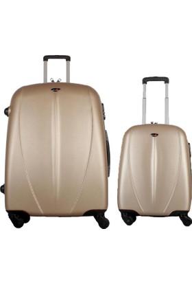 My Luggage Özel Seri Sert Yüzey 2 li Valiz Seti Altın (Büyük Küçük Boy)
