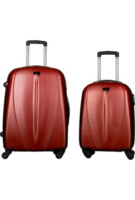 My Luggage Özel Seri Sert Yüzey 2 li Valiz Seti Bordo (Orta Küçük Boy)