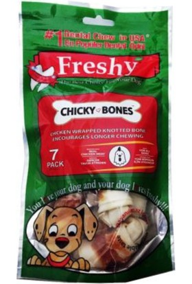 Freshy Chiky Bones Kurutulmuş Tavuk Eti Kaplı Düğüm Kemikler 6.5 cm 7 adet