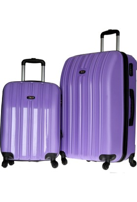 Tutqn Safari 2'Li Kabin Ve Büyük Boy Kırılmaz Bavul Valiz Seti Lila
