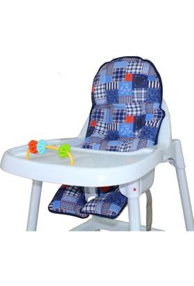 Sevi Bebe Mama Sandalyesi Minderi - Desenli Mavi
