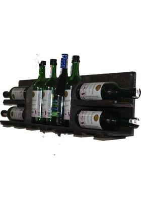 Masif Ağaç Duvar Tipi Şaraplık Şarap Rafı İçki Dolabı
