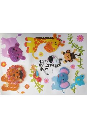 Bigwall Hayvanlar Alemi Duvar Stickerı Aslan Zürafa Fil Zebra Maymun Sticker