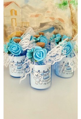 Şirin Hediye Mavi Renk Cam Şişede Bebek Doğum Günü Hediyesi Kolonya Şişesi- 30Adet