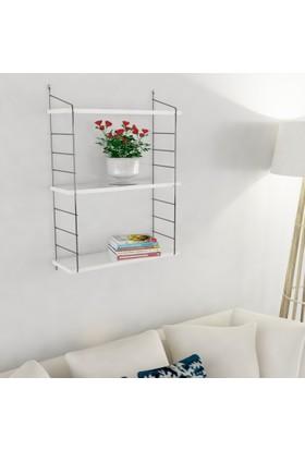 Decormet Armoni Raf ve Kitaplık Seti 3 Raflı 200X720 Beyaz