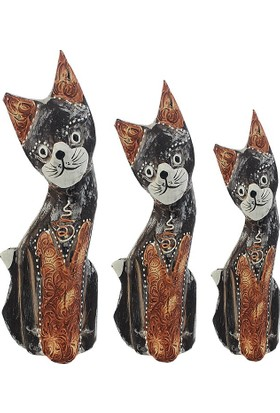 Hunga Üçlü Ahşap Kedi Biblo
