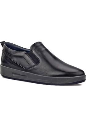 Cabani Light Taban Lastik Detaylı Sneaker Erkek Ayakkabı Siyah Deri