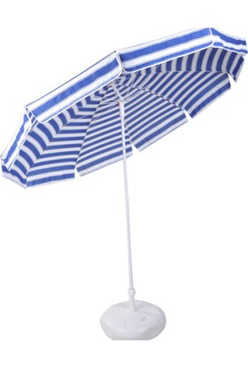 İdeal Mavi Beyaz 250 Cm 10 Telli Bahçe Plaj Şemsiye