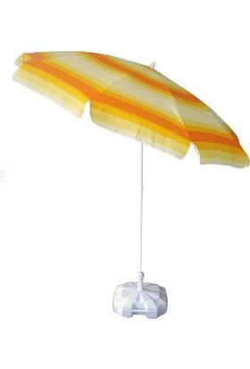 İdeal Turuncu Sarı 220 Cm 10 Telli Bahçe Plaj Şemsiye