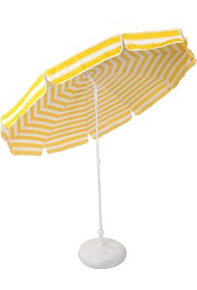 İdeal Sarı Beyaz 220 Cm 10 Telli Bahçe Plaj Şemsiye