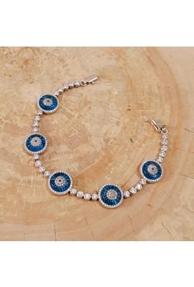 Yeni Moda 5 Parça Nazar Boncuklu Taşlı Gümüş Bileklik dp63