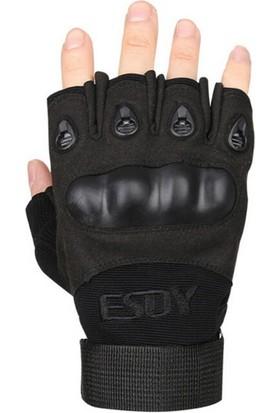 Kudos Esdy Takviyeli Kesik Parmak Siyah Suede Eldiven XL