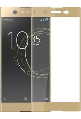 Teleplus Sony Xperia Xa1 Ultra Tam Kapatan Cam Ekran Koruyucu Gold