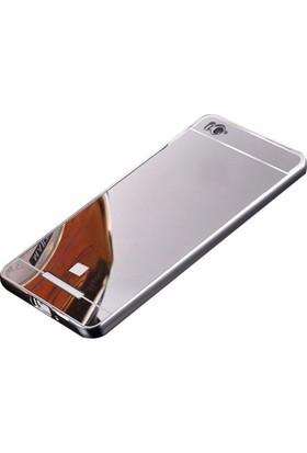 Teleplus Xiaomi Redmi 4A Aynalı Metal Kapak Kılıf Gümüş + Cam Ekran Koruyucu