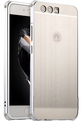 Teleplus Huawei P10 Aynalı Metal Kapak Kılıf Gümüş + Tam Kapatan Cam Ekran Koruyucu