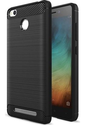 Teleplus Xiaomi Redmi 3 Pro Özel Karbon Ve Silikonlu Kılıf Siyah