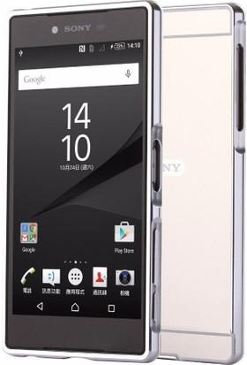Teleplus Sony Xperia Xa1 Ultra Aynalı Metal Kapak Kılıf Gümüş + Tam Kapatan Cam Ekran Koruyucu