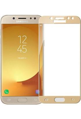 Teleplus Samsung Galaxy J7 Pro Tam Kapatan Cam Ekran Koruyucu Gold