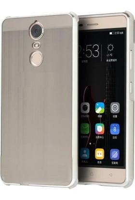 Teleplus Lenovo K6 Note Aynalı Metal Kapak Kılıf Gümüş + Cam Ekran Koruyucu