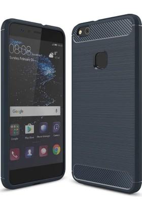 Teleplus Huawei P10 Özel Karbon Ve Silikonlu Kılıf Lacivert + Tam Kapatan Cam Ekran Koruyucu